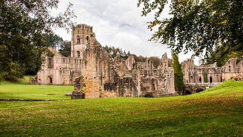 fountainsabbey abbey monastery church ruins tower ripon architecture landscape stonework grass tree nationaltrust cistercian yorkshire