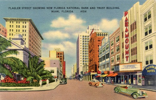 Flagler Street Downtown Miami Vintage Postcard | by Phillip Pessar