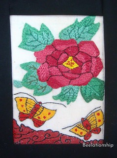Botan (牡丹, peony), Hanafuda Tapestry | by Beelationship Embroidery Studio