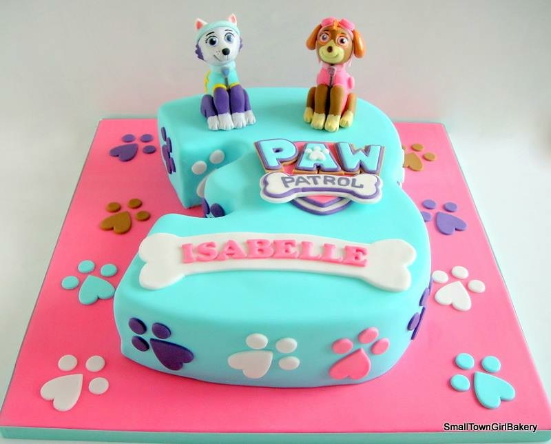 By Small Town Girl Bakery Number 3 Pink Paw Patrol Cake