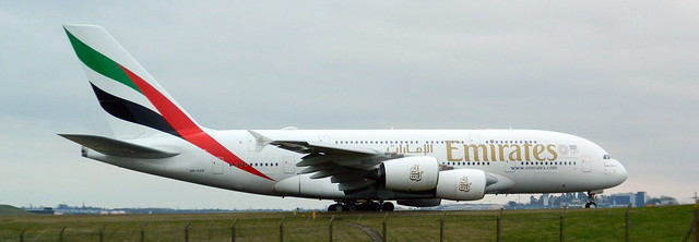 Emirates A380 Airbus ready to take off at The Birmingham Airport.