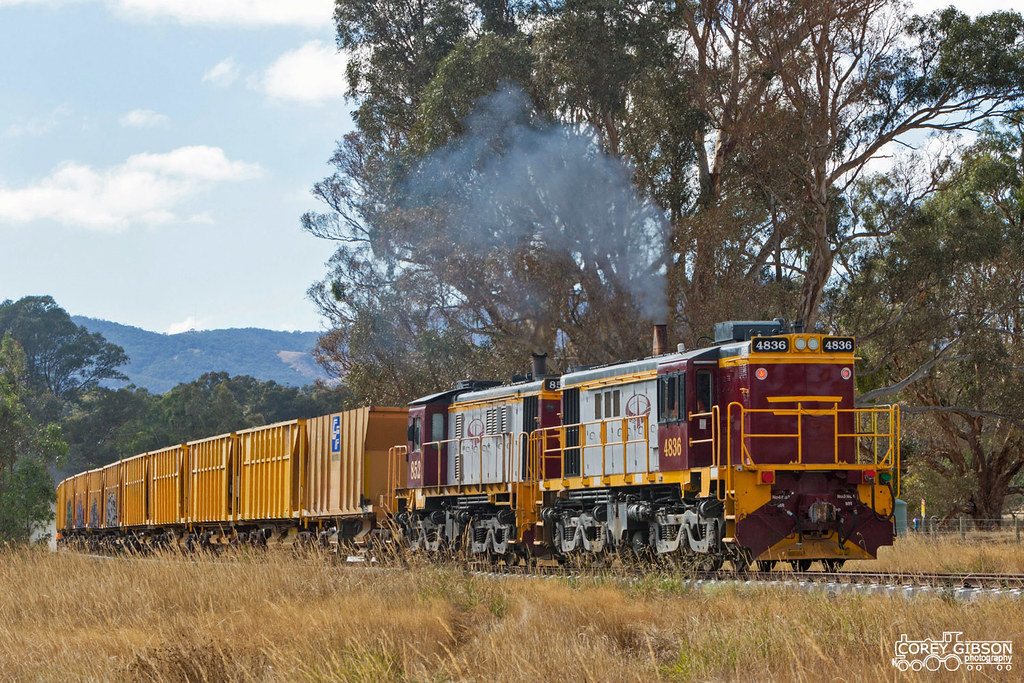 4836 & 852 laying Ballast along the rebuilt Ararat - Maryborough line by Corey Gibson