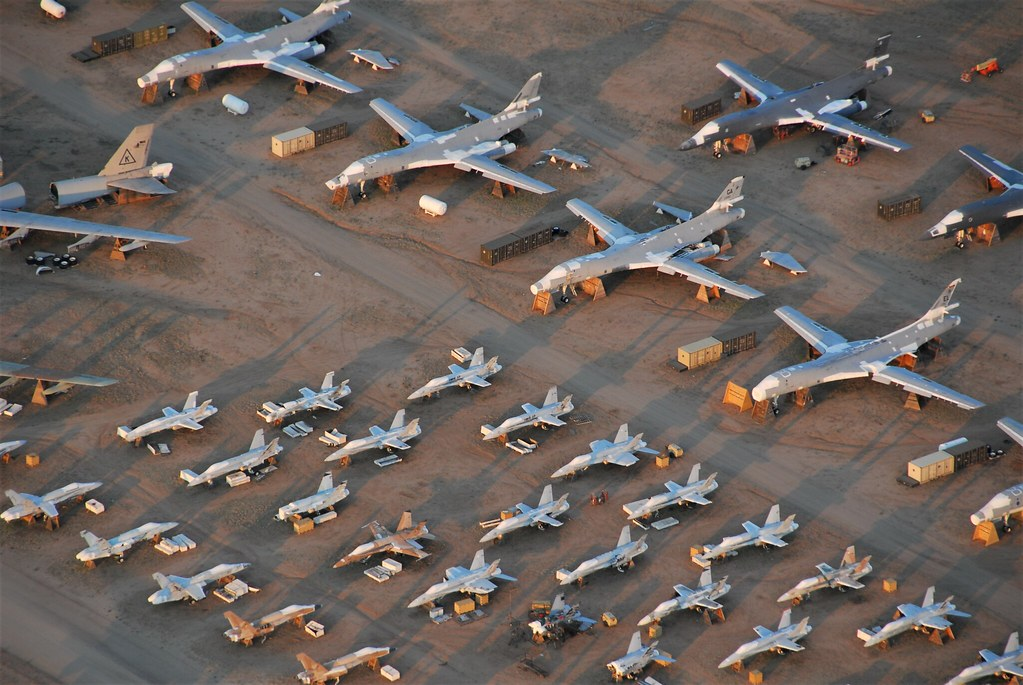 Former U.S.Marines & U.S.Navy F/A-18 legacy Hornet's and USAF B-1B bombers. Seen stored with the 309th Aerospace Maintenance and Regeneration Group (AMARG), Tucson, Arizona. 5 June 2016.