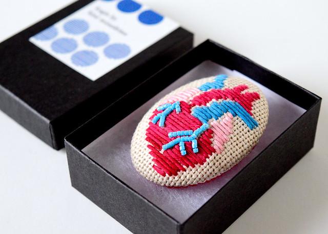 Koginzashi Embroidered Anatomical Heart Brooch