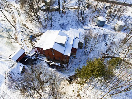 aerialphotography aerial drone drones dji djiphantom4 phantom4 winter cold mill history mills newhopemills fingerlakes red 2018 beautiful nature landscape