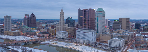 columbus skyline skyscraper winter lights inspire1pro drone architecture center downtown dji cloudy morning ariel