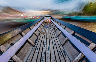 10 second long exposure from inside a moving longtail boat taxi - Naung Shwe, Myanmar   by Phil Marion