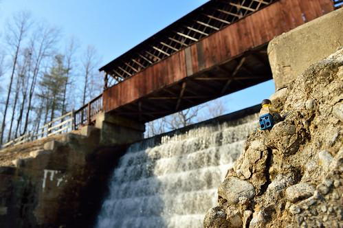 adventurerjoe lego project365 nikon d3200 sun water waterfall bridge wooden bluesky warm