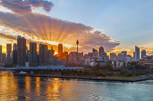 sydney australia whitebay sunrise newsouthwales morning waterreflections sun cloudysunrise sydneyharbour sunreflections cityskyline sunrays
