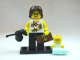 Brick Yourself Custom Lego Figure New Mum with Chocolate & Oil Can | by BrickManDan