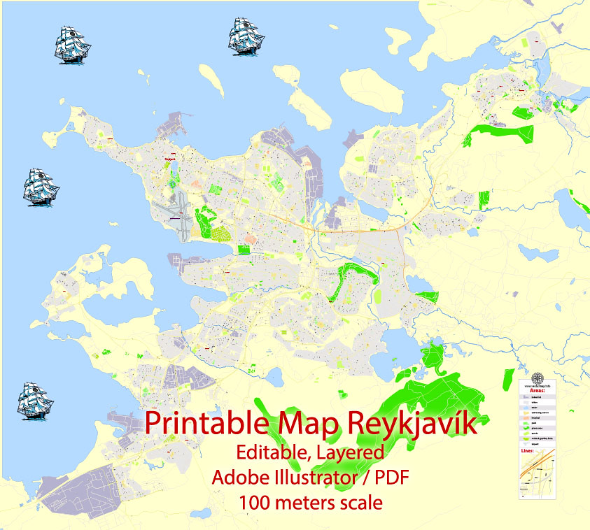 image relating to Printable Iceland Map titled Reykjavik Printable Vector Map, Iceland, G-Watch point 17