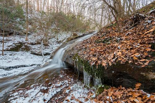 georgia ga gwinnett waterfall water ice snow winter