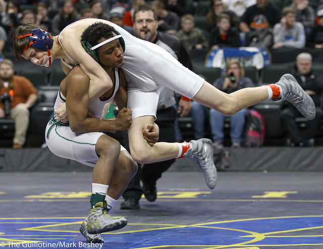 126A 1st Place Match - Michael Suda (Pipestone Area) 40-3 won by decision over Blake Legred (United South Central) 39-6 (Dec 13-9) - 180303cmk0091