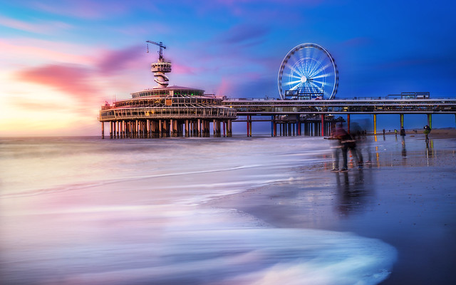 Colorful sky at Scheveningen Boardwalk and Pier. shared with pixbuf