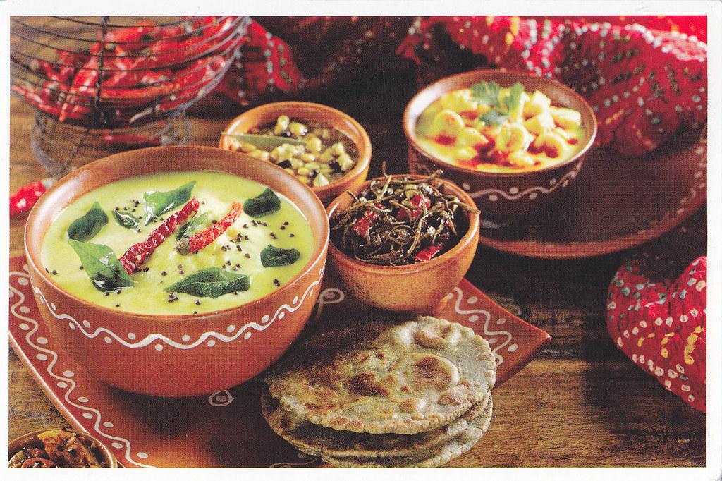 India - Rajasthani Food - Bajra Roti, Kadhi and Vegetables