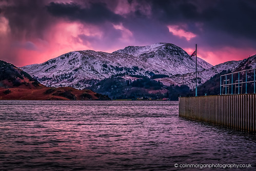 2018 airaforce cumbria februaray fells lakedistrict mountains pier pink sky snow stream sunset ullswater water