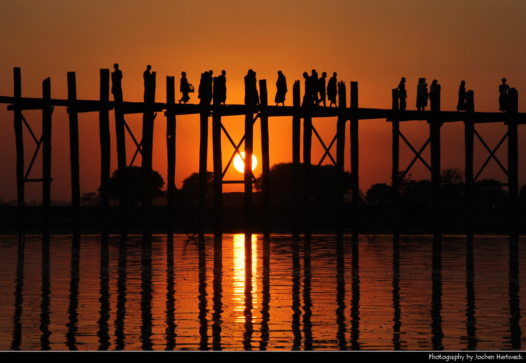 U Bein Bridge at Sunset, Amarapura, Myanmar