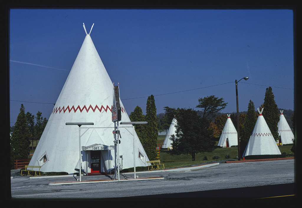 Wigwam Village #2, office teepee and several teepee cabins, Route 31W, Cave City, Kentucky (LOC)