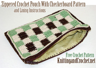 Checkered Crochet Pouch With Zipper and Lining