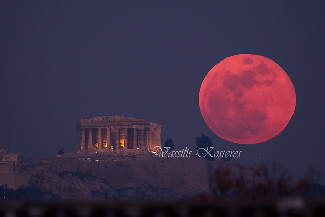 Super Blue Moon rising over the Acropolis of Athens