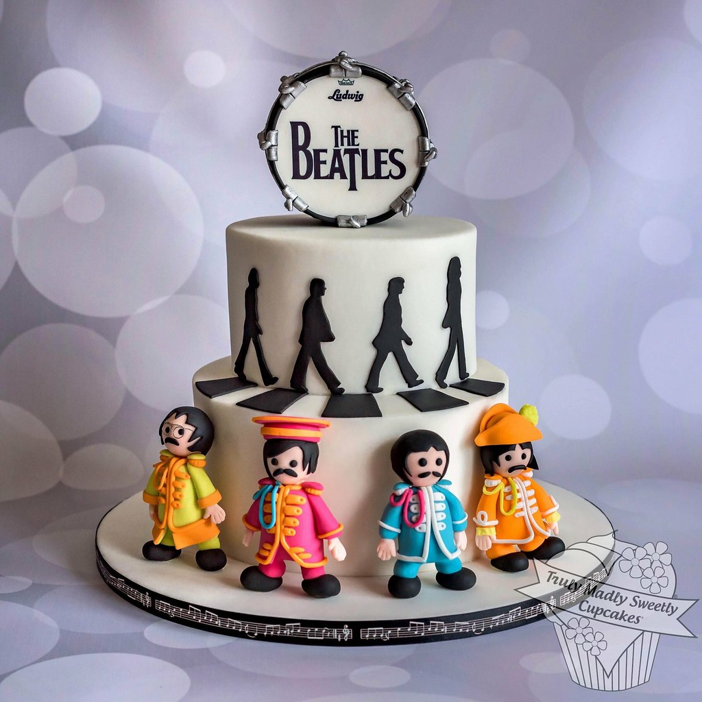 Enjoyable Beatles Themed Cake For Mr Tmsc Gaynor Truly Madly Sweetly Funny Birthday Cards Online Alyptdamsfinfo