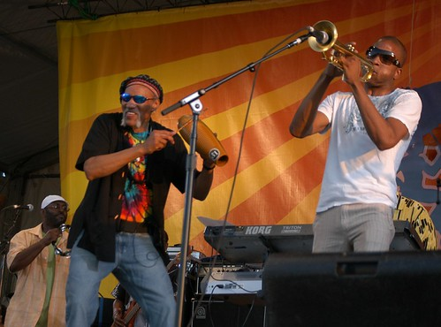 Charles Neville and Trombone Shorty at Jazz Fest 2008. Photo by Black Mold.