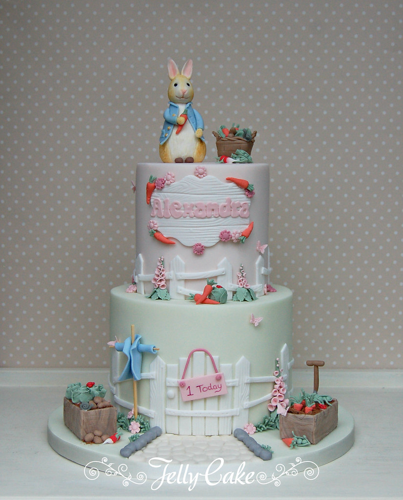 Astounding Peter Rabbit 1St Birthday Cake All Sugar Details Hand Made Flickr Personalised Birthday Cards Epsylily Jamesorg