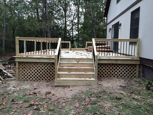 15ft x 21ft deck with custom handrails with metal pickets | by CanaleContractingLLC