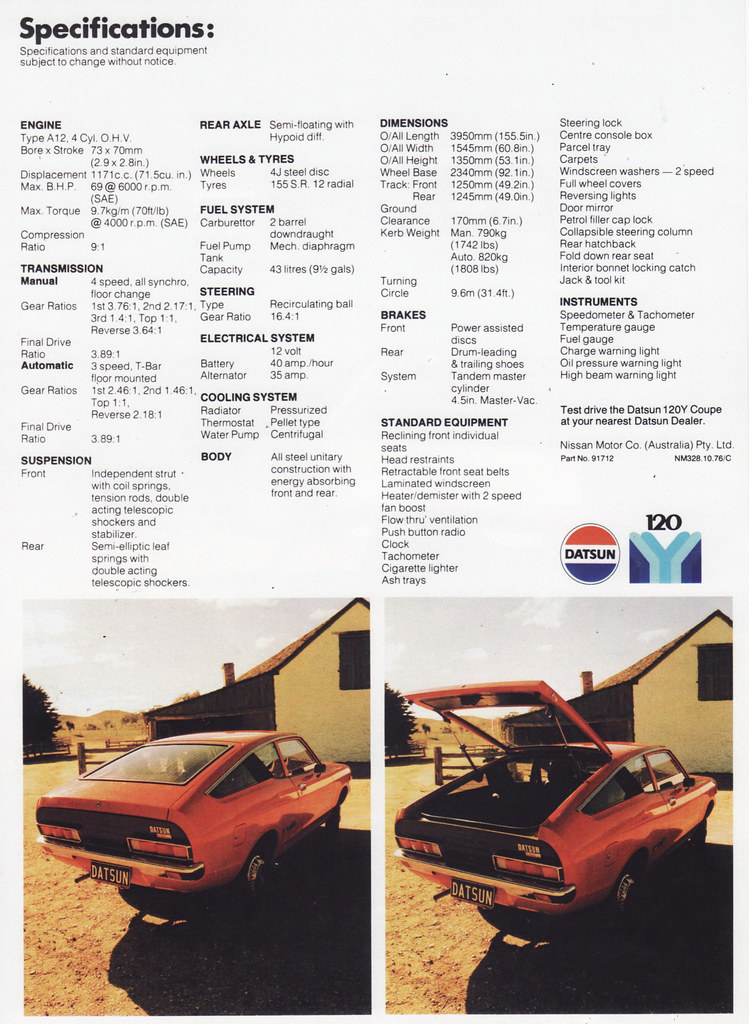 1974 Datsun 120Y Coupe Brochure - Australia | Covers the 197