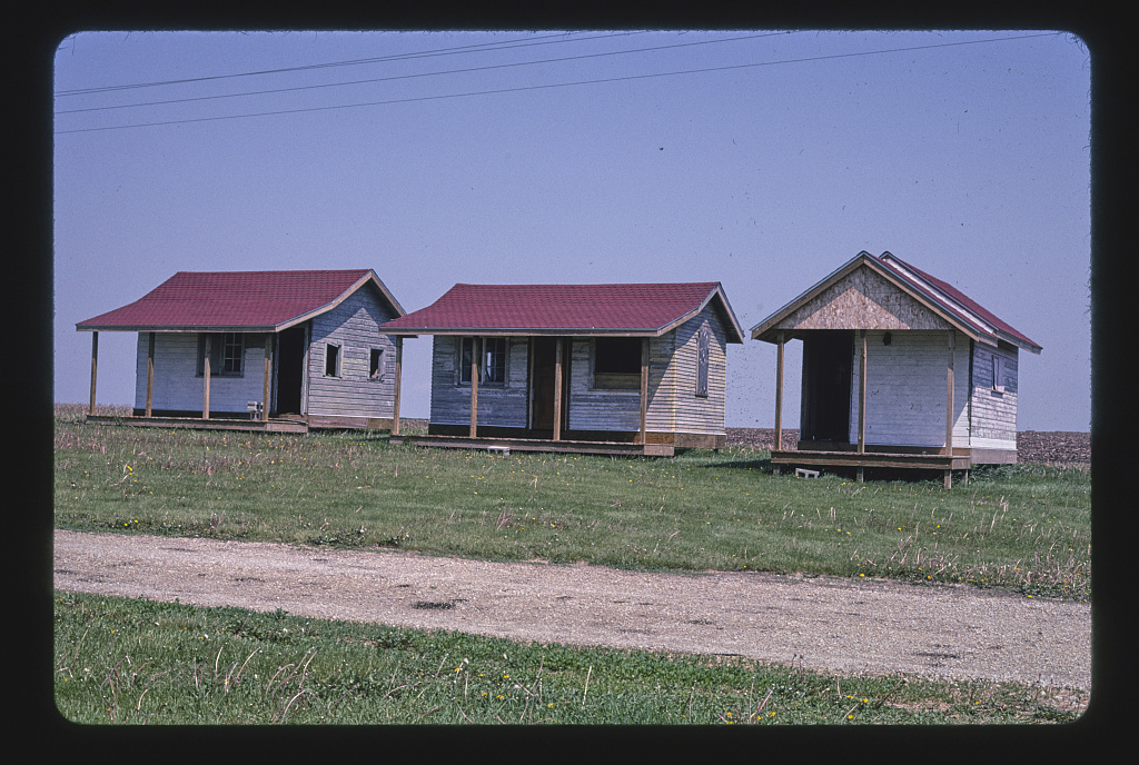 Youngville Cafe cabins, three cabins, Route 30, near Van Horne, Iowa (LOC)