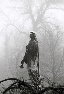 "Cincinnati – Spring Grove Cemetery & Arboretum ""Foggy Morning At Trumpeter Statue"" 