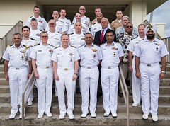 U.S. Navy and Indian Navy leaders pause for a photo together during executive steering group talks, Jan. 17. (U.S. Navy/MCCS Mark Schultz)