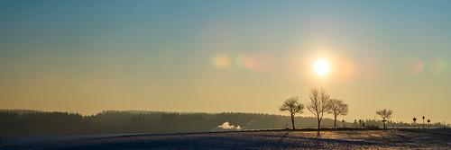 sunrise sun upper franconia germany panorama landscape trees backlight