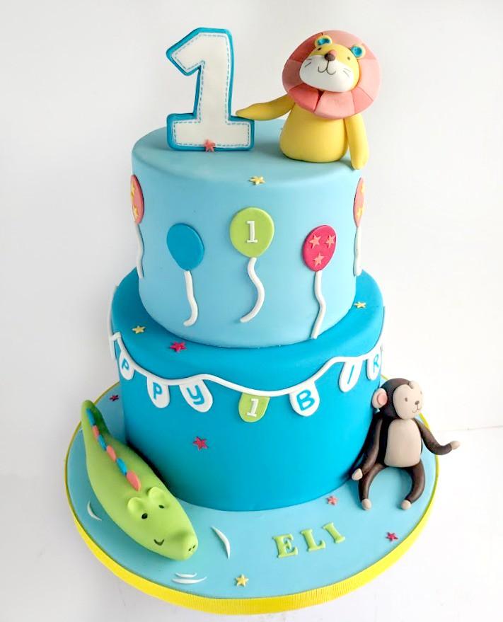 Swell Jungle Themed Birthday Cake Swirlsbakery Flickr Funny Birthday Cards Online Elaedamsfinfo