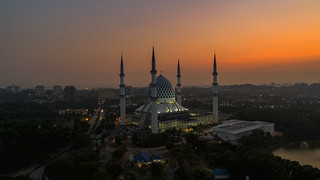 An Aerial view of Shah Alam Mosque during sunrise | by Mohamad Zaidi Photography