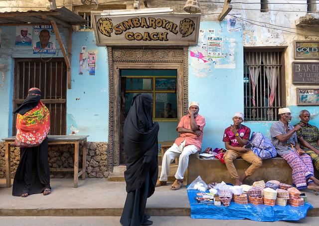 Daily life in the streets of Lamu Island, Kenya