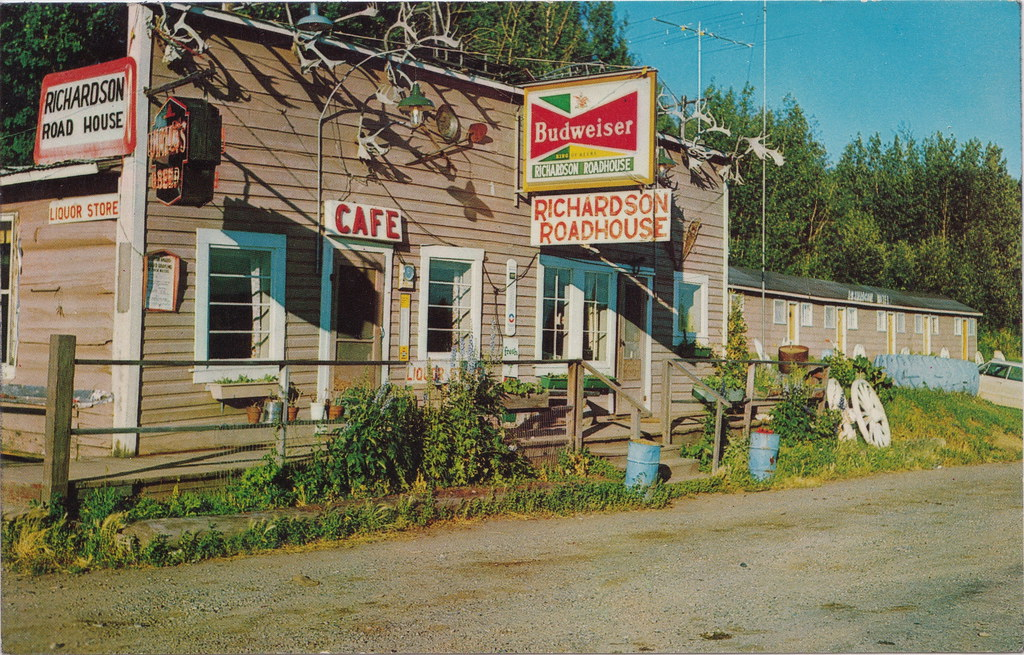 AK GREAT BUDWEISER SIGN Collectible 1960s in Fairbanks Alaska at the RICHARSON ROADHOUSE Restaurant and Cocktail Bar Your Hosts Stan and Denise Aubert on the old Valdez Trail