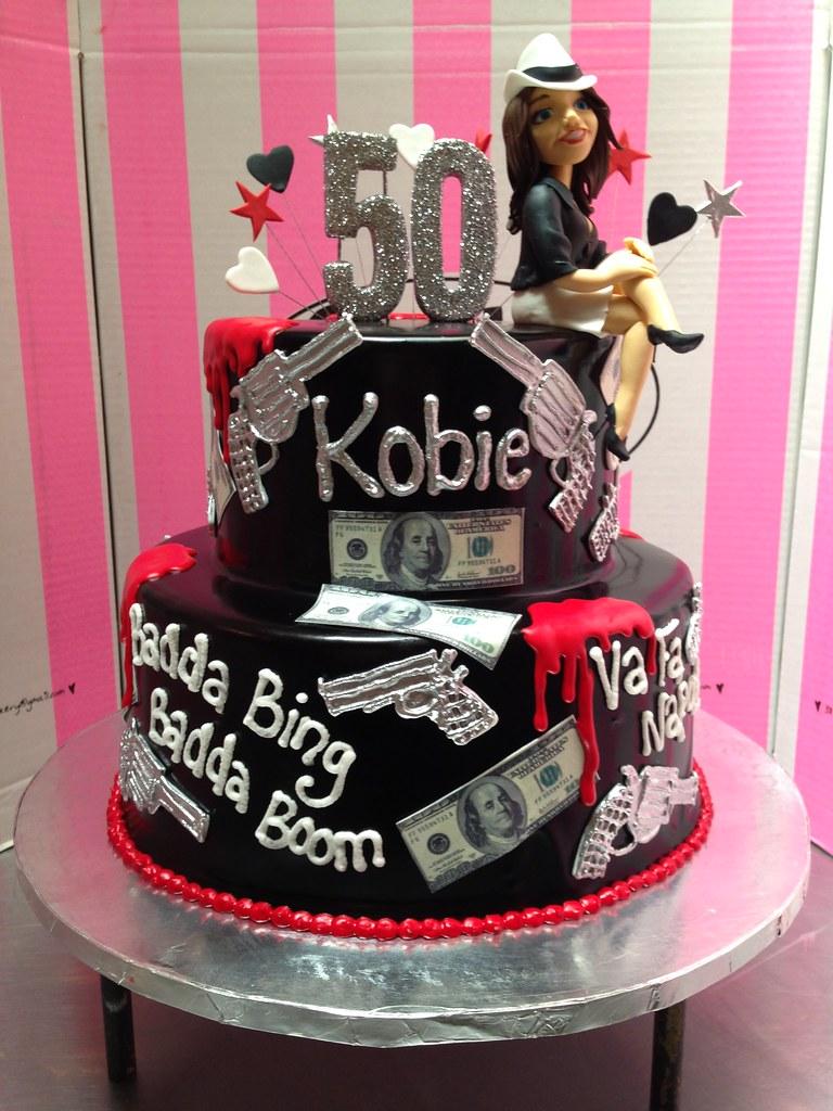 2 Tier Mafia Themed 50th Birthday Cake With 3D Mafioso Lady Figurine Silver Guns