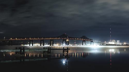 arlingtonmarina arlington jacksonville florida stjohnsriver river water bridge matthewsbridge downtown city lights sky canon 50mm 5dmarkiii longexposure fog 3rdratephotography earlware 365