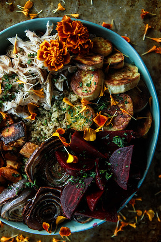 One Minute Insta-Pot Quinoa Bowl with Chicken and Roasted Vegetables from HeatherChristo.com | by Heather Christo