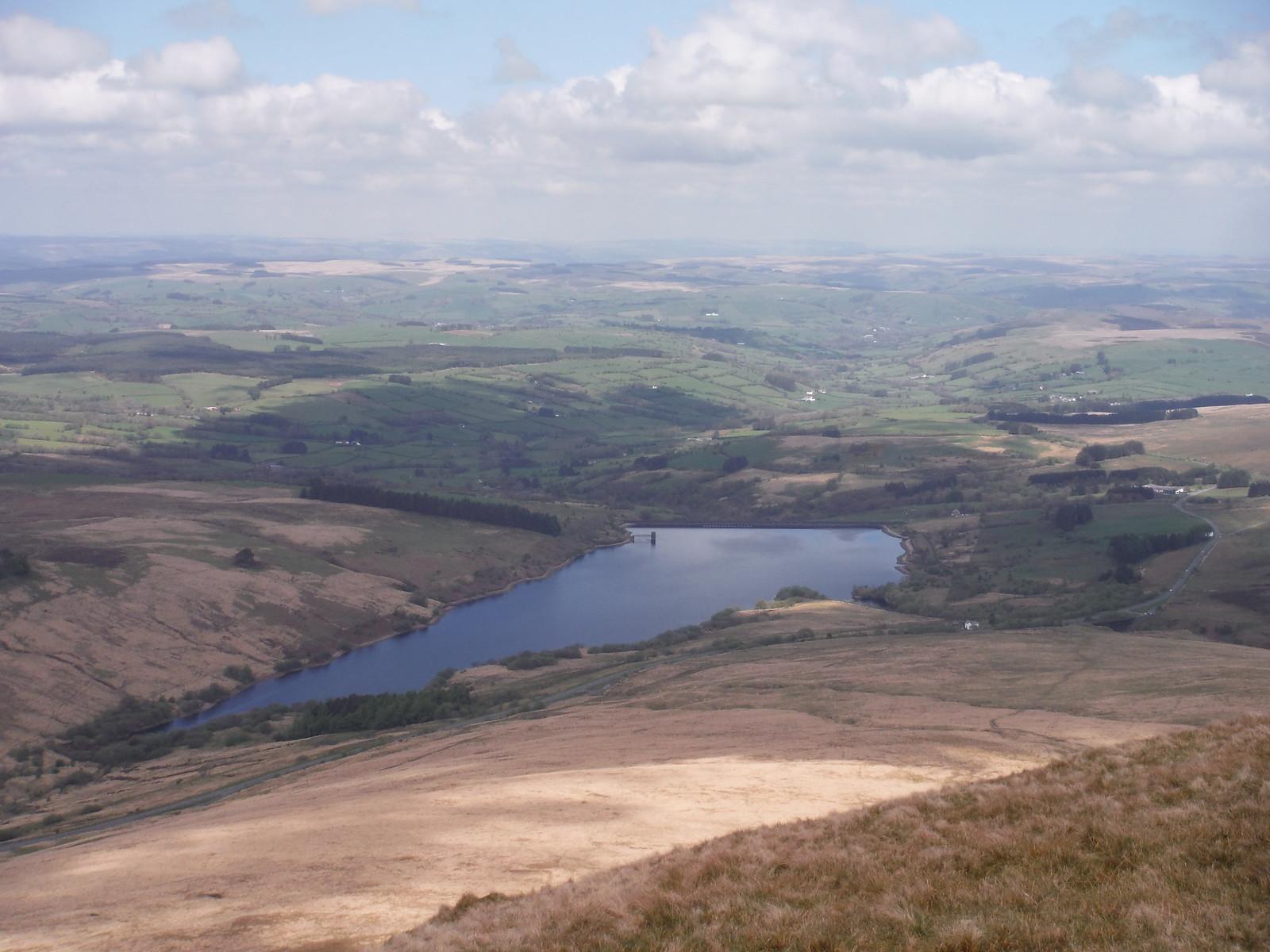 Cray Reservoir from Fan Gyhirych SWC Walk 307 - Fforest Fawr Traverse (Craig y Nos to Llwyn-y-celyn)