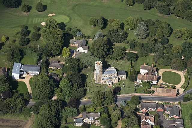 All Saints Church in Sutton - Bedfordshire - UK aerial