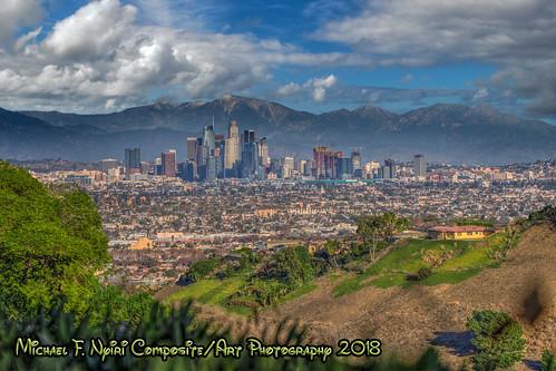 "city cityscape losangeles california southerncalifornia kennethhahnstaterecreationarea compositeartwork ""canonflickraward"