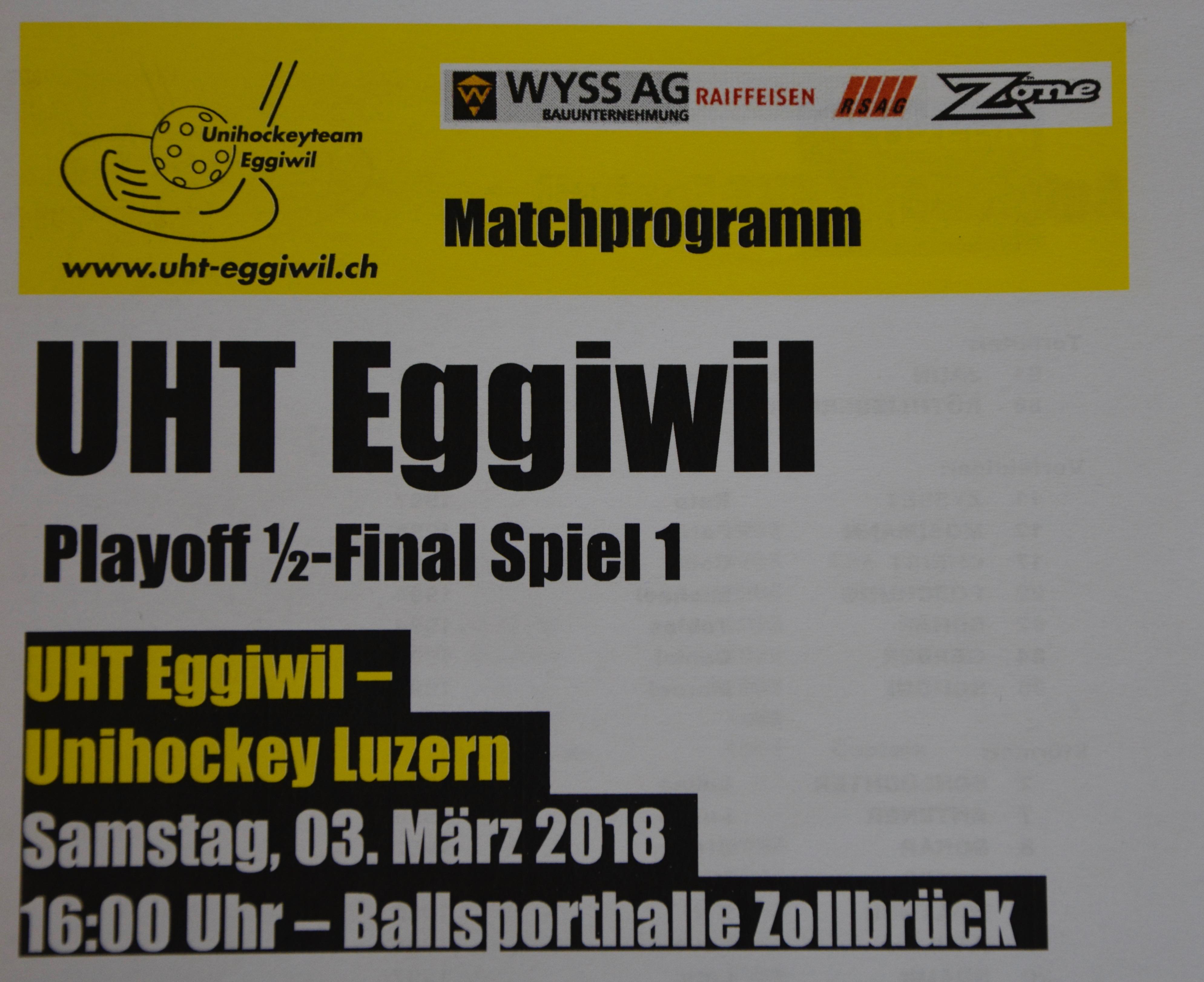 Herren I - Unihockey Luzern Playoff 1/2-Final Spiel 1 Saison 2017/18