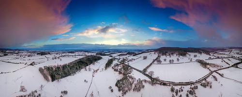 uk england yorkshire west acre farm snow sunset