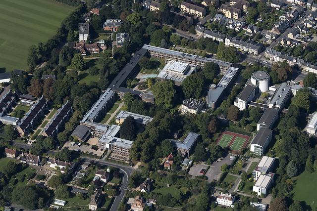 Cambridge University Fitzwilliam College - aerial view