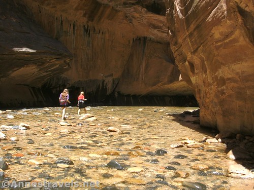 A shallow section of The Narrows, Zion National Park, Utah, family-friendly hikes in Zion