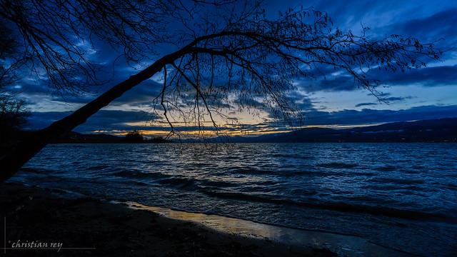 Fin de journée d'hiver sur le lac de Neuchâtel (Switzerland)