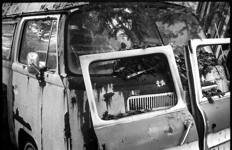 rusted van, door and window panels, Billy's Corvair junkyard, Black Mountain, NC, FED 4, Industar 26, Ilford FP4+, Moersch Eco Film Developer, November 2017