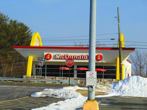 mcdonalds retro old golden arches holyoke massachusetts january 21 2018 speedee hamburger front view